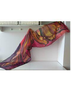 Есенна магия, ръчно рисуван шал от 100% естествена коприна
