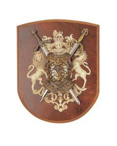 Декоративен герб, щит с лъв и кон
