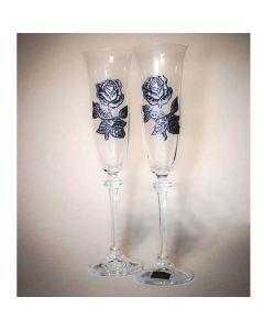 Комплект чаши за шампанско с ръчно ковани рози