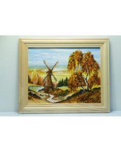 Картина с кехлибар Златна вятърна мелница