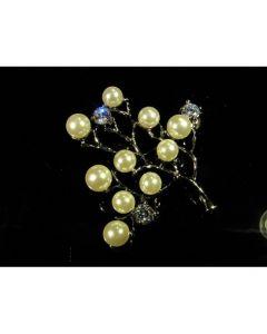 Брошка клончето на изобилието, перли и син циркон