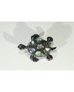 Брошка костенурка, цветен седеф