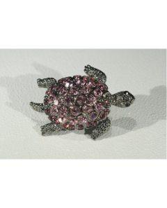 Брошка костенурка, розов циркон