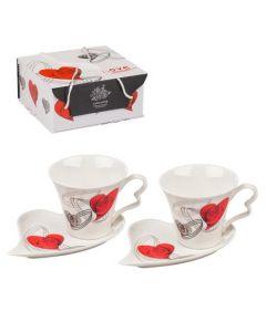 """Комплект чаши за кафе """"Сърце за двама"""""""