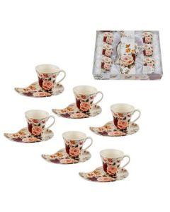 Сервиз за кафе английски порцелан, 12 части, Красотата на  розите