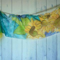"""Ръчно рисуван шал  """"Слънчогледи"""""""