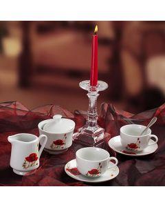 Сервиз за кафе от английски порцелан, Макове, 15 части