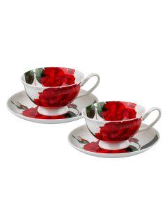 "Комплект чаши за кафе ""Огнени рози"""