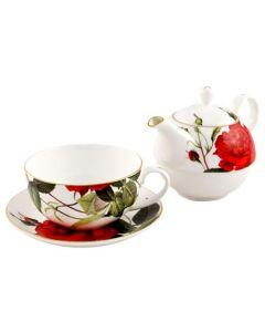 """Комплект за чай - чаша и чайник от английски порцелан """"Царица Роза"""""""