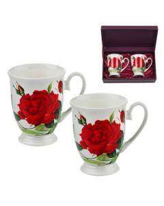 Комплект от две чаши за чай Червена роза