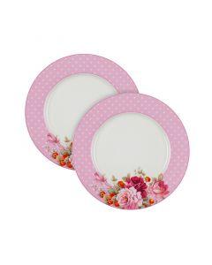 Комплект две чинии, Розови рози, перла, порцелан