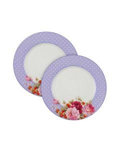 Комплект 2 бр. чинии от костен порцелан, Перла, лила