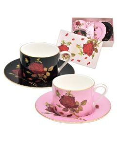 Комплект две чаши и чинийки за кафе и чай, класик, Роза GOLD