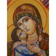 Икона на Св. Богородица, ръчно рисувана