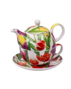 Комплект за чай от костен порцелан, чайник и чаша, Лалета