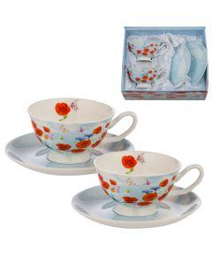 Макове, матине, комплект за двама за кафе и чай