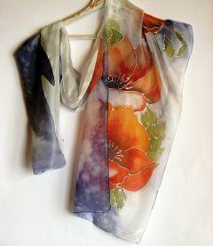 Ръчно рисуван шал,  Стилизирани цветя