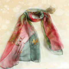 Коледен, ръчно рисуван шал от естествена коприна
