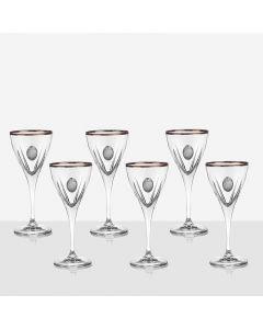 Кристален сервиз за вино, със сребърни плочки