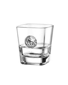 Чаша за уиски с посребрена пластина, Лъв