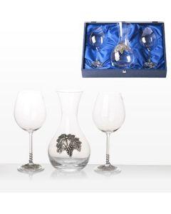 Луксозен комплект за вино, декантер с две чаши