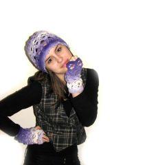 Плетен дамски комплект, шапка и ръкавици