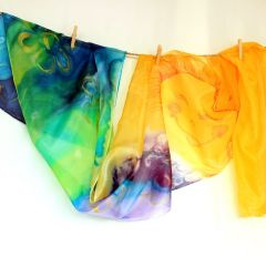 "Ръчно рисуван шал от естествена коприна ""Слънце"""