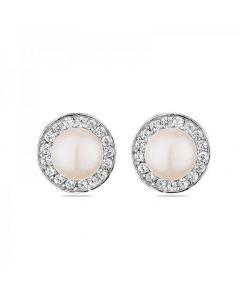 Аристократични обеци от сребро и естествени перли