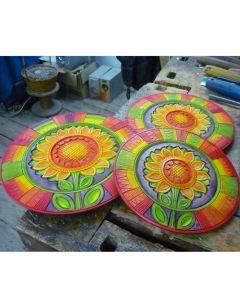 Декоративна чиния, дърворезба, Слънчоглед