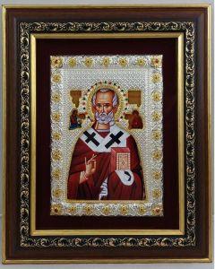 Икона на св. Николай с голяма рамка