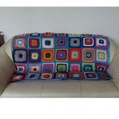 Многоцветно, ръчно плетено одеяло, Синьо