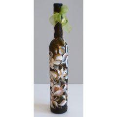 """Рисувана бутилка """"Орхидеи на черен фон"""""""