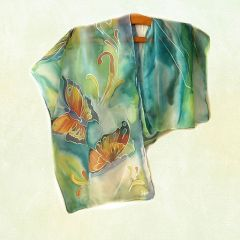 Шал от 100% естествена коприна, ръчно рисуван, Пеперуди