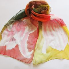 "Рисуван шал ""Стилизирани цветя на фон"""