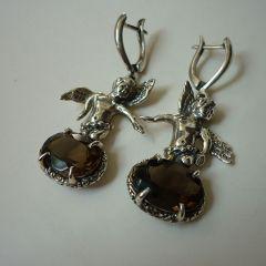 Сребърни обеци с опушен кристал, Ангели
