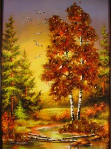 "Картина с кехлибар  ""Кехлибарена есен"""